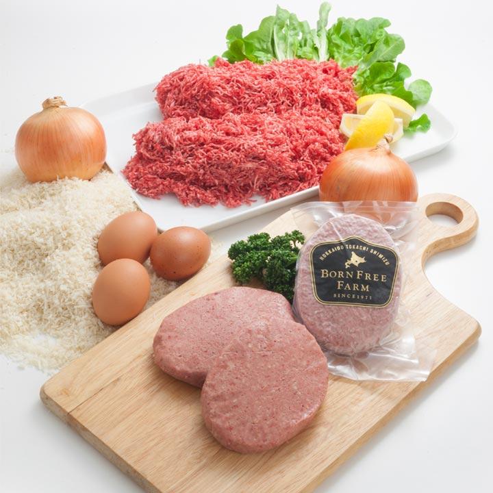 厳選なる材料。北海道十勝産牛肉,北海道十勝産玉ねぎ,北海道十勝産たまご
